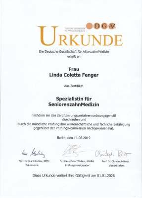 CertificateSpezialistin Alterszahnmedizin